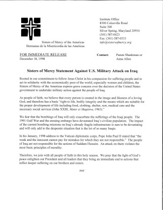 Sisters of Mercy Statement Against U.S. Military Attack on Iraq